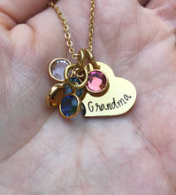 Load image into Gallery viewer, Gold birthstone necklace with mom or grandma heart pendant