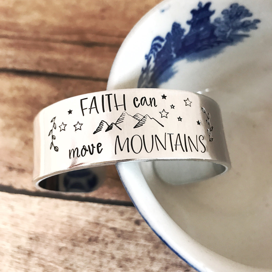 Faith can move mountains wide cuff