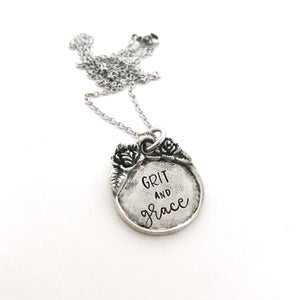 Grit and Grace pewter pendant necklace