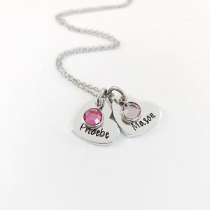 Heart pendant birthstone necklace