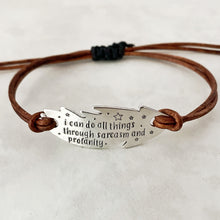 "Load image into Gallery viewer, ""Sarcasm and profanity"" adjustable leather bracelet"