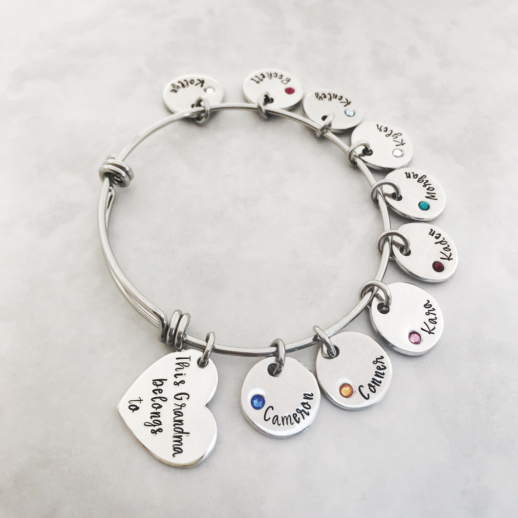 """This mom belongs to""...custom embedded birthstone charm bracelet"