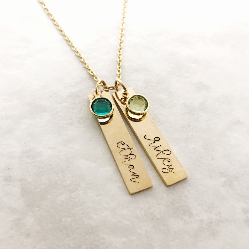 Gold name necklace with birthstones for mom