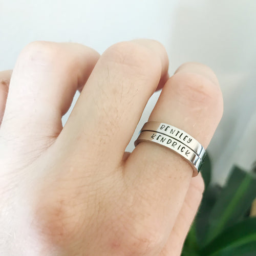 Silver Stacking Name Rings