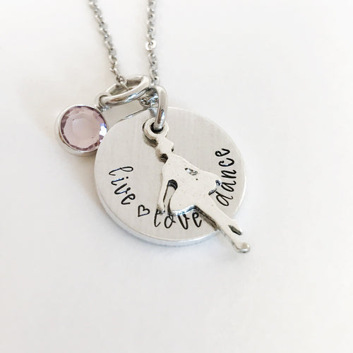 Live love dance charm necklace with birthstone