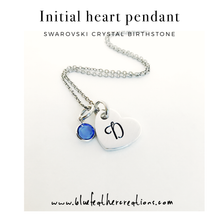 Load image into Gallery viewer, Heart initial pendant birthstone necklace