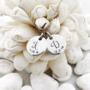 Tiny disc initial and date necklace
