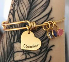 Load image into Gallery viewer, Gold bangle birthstone charm bracelet for grandma