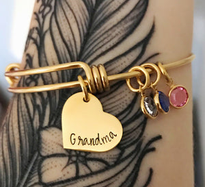 Gold bangle birthstone charm bracelet for grandma