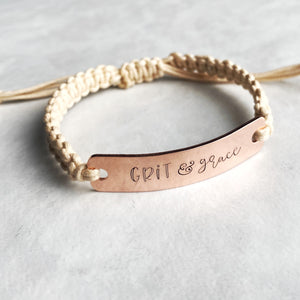 """Grit and grace"" adjustable macrame bracelet"
