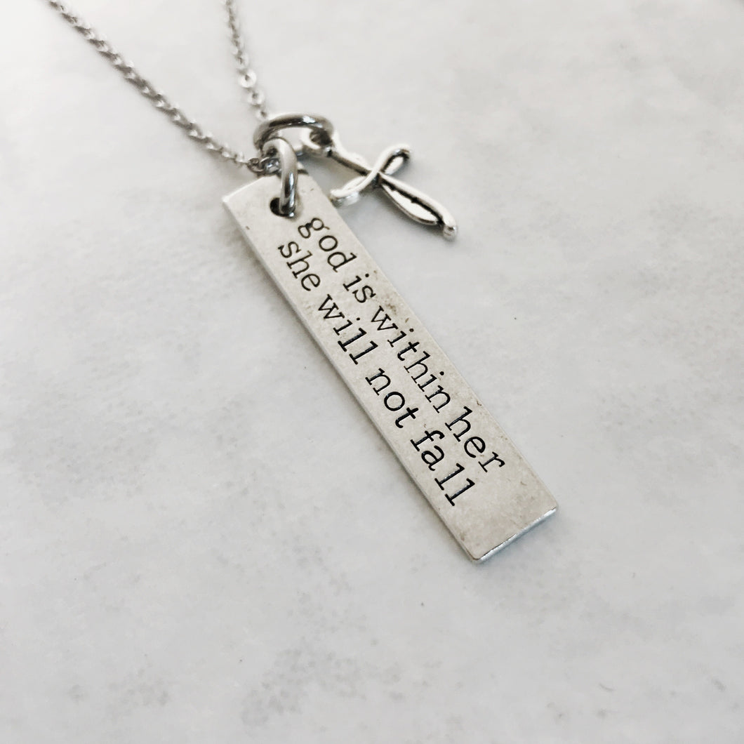 God is within her she will not fall necklace