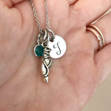 Load image into Gallery viewer, Dance slipper initial necklace with birthstone