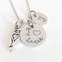 Load image into Gallery viewer, I love dance initial charm necklace