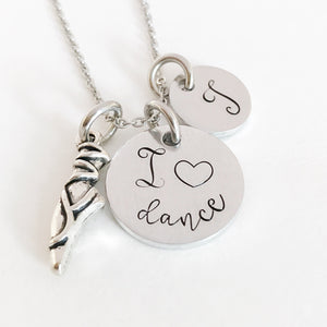 I love dance initial charm necklace