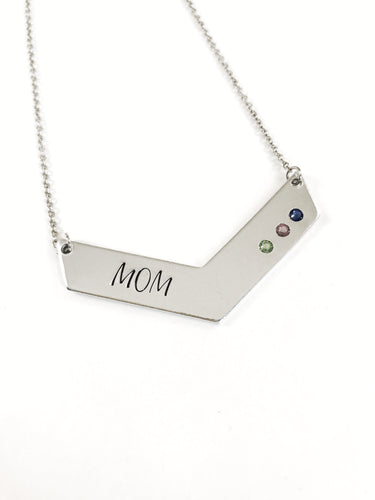 Chevron bar necklace with birthstones for mom