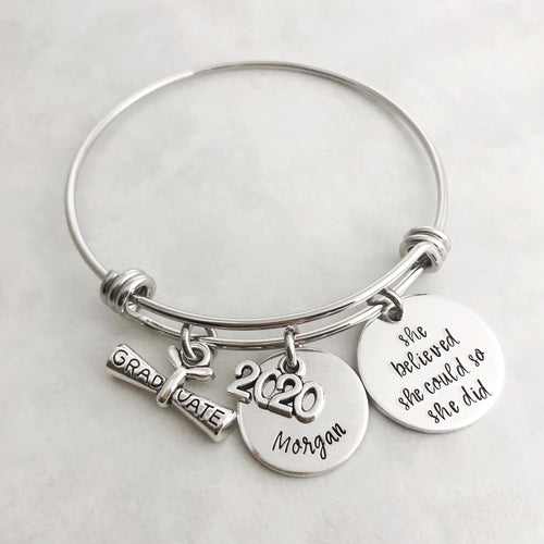 Personalized graduation charm bracelet