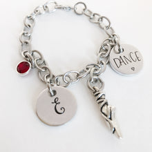 Load image into Gallery viewer, Dance charm bracelet with initial and birthstone