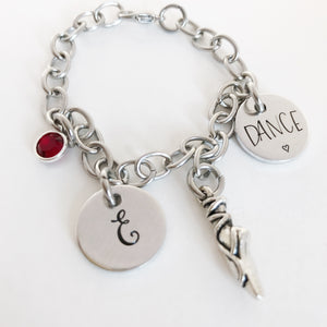 Dance charm bracelet with initial and birthstone