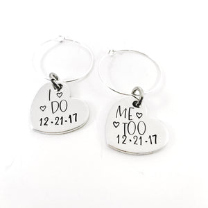 Wedding wine charms - I do, Me too