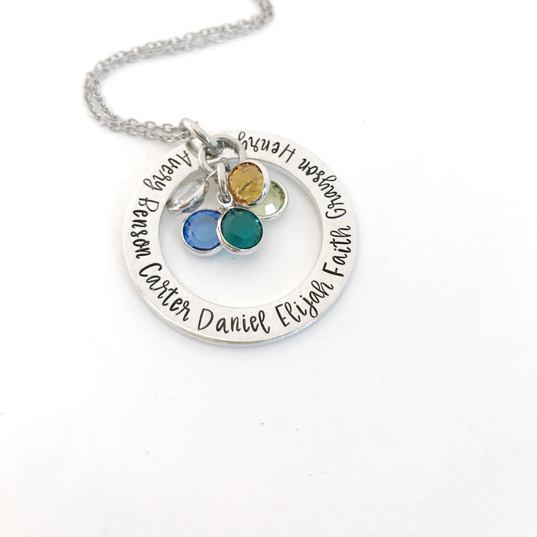 Birthstone name necklace for mom