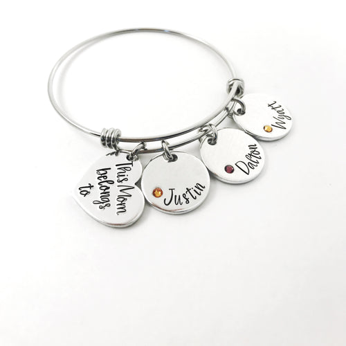 This mom/grandma belongs to...custom embedded birthstone charm bracelet