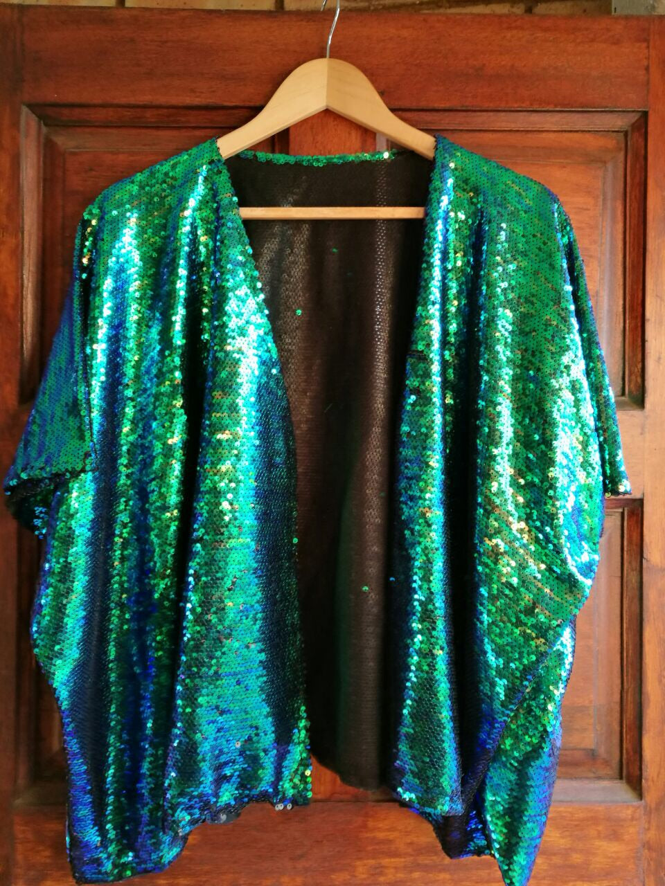 Turquoise to Matt Black full sequined kimono