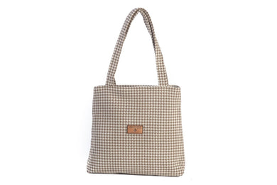Houndstooth Oyster Grey Tote