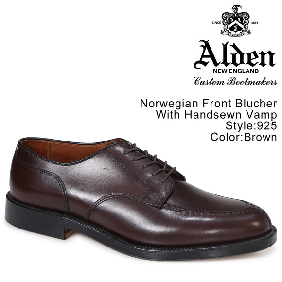 ALDEN 925 Norwegian Blucher Brown Calf Skin