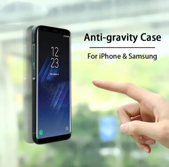 big sale 7b8d0 7ddaa Anti Gravity Phone Bag Case For iPhone X 8 7 6S Plus Antigravity TPU Frame  Magical Nano Suction Cover Adsorbed Car Case