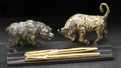 Bull & Bear Double Pen Holder