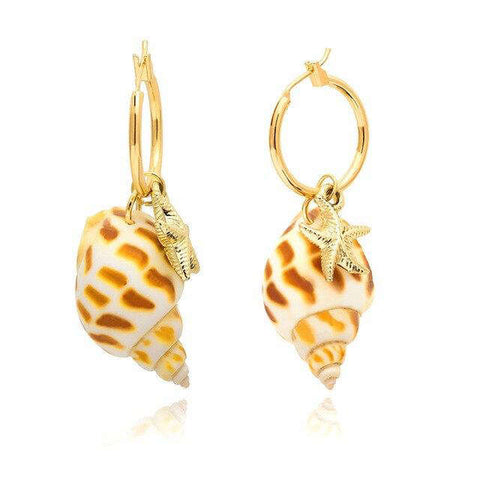 Ingemark Korean Girl Natural Shell Drop Earring Metal Summer 2019 Tiny Cowrie Conch Sea Shell Long Tassel Dangle Earrings Boho