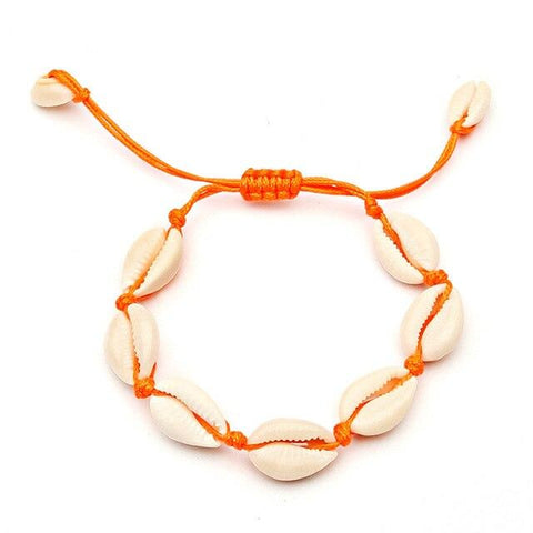 Bracelet Cheville Coquillage Orange | Bijoux et Coquillages