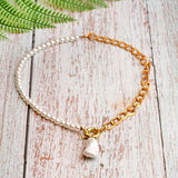 Collier Coquillage <br/> Or et Blanc