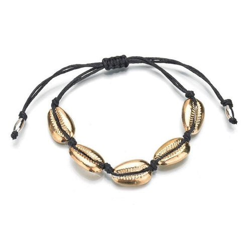 Bracelet Cheville Coquillage <br/> Gold Cowries