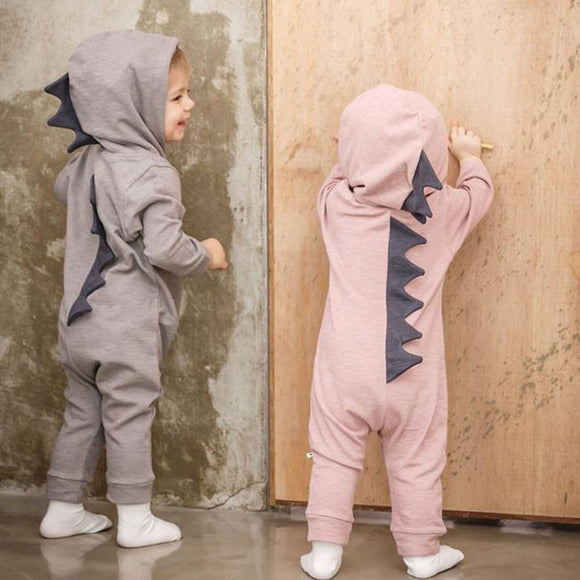 Cartoon Dinosaur Design Hooded Baby Rompers Newborn Clothing Cotton Long Sleeve Jumpsuits Boys Girls Outerwear Costume Baby Gift
