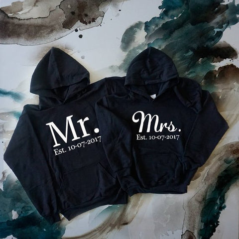 Future Mrs and Mr Sweatshirts Custom your date Bride and Groom Hoodies Honeymoon Outfits Wedding Gift