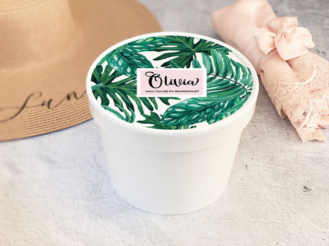 Round Gift Box - Palm Leaf