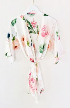 Spring Rose Satin Robe