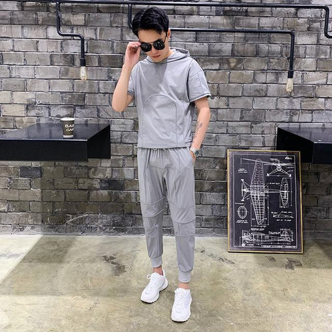 Tsingyi Summer 2pcs Sets Reflective Tracksuit Men Women Couples Thin Short Shirts+Ankle-length pants Fashion Reflect  Sets