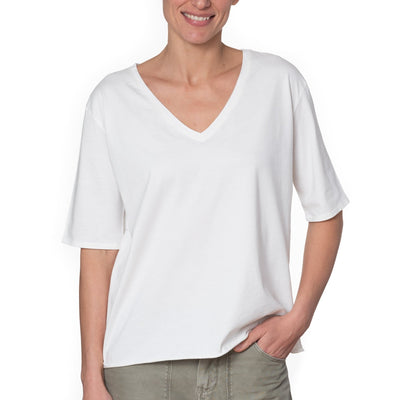 T shirt coton bio eco responsable femme col V manche coude coupe loose blanc uni suny