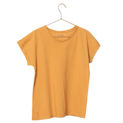 T shirt coton bio eco responsable femme col rond manche courte coupe loose curry uni suny