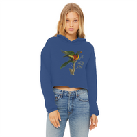 Blue-Bellied Parrot Ladies Cropped Raw Edge Hoodie