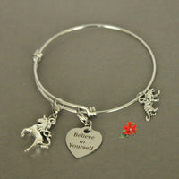 You! are Real. Believe in Yourself. Charm Bangle Bracelet