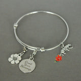 Stop to Smell the Flowers. Enjoy Life's Little Pleasures. Charm Bangle Bracelet