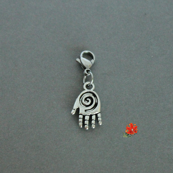 Spiral & Heart Hand Charm with Lobster Clasp