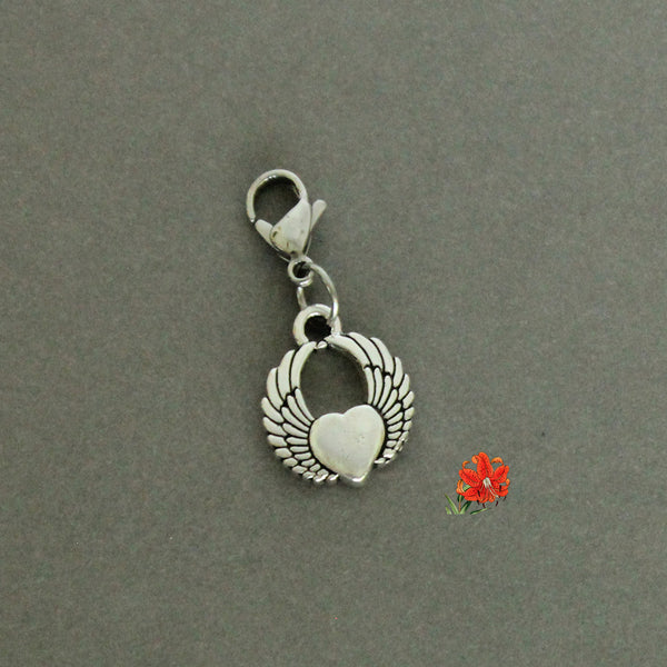 Silver-Plated Pewter Heart with Wings (HeartWing) Charm with Lobster Clasp