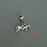 Jumping Horse with Rider Charm with Lobster Clasp and 1 Bangle