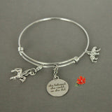 "Pegasus Charm ""She Believed She Could, So She did"" Simple Bangle Bracelet"