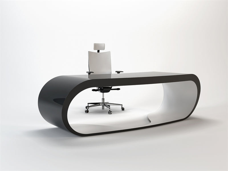 Black Goggle desk with white inner trim made in Italy