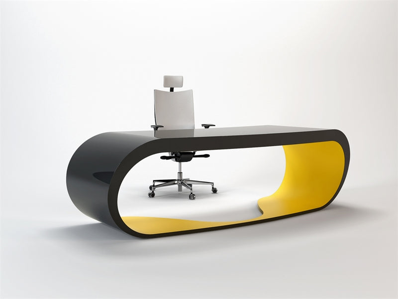 Black Goggle desk with yellow inner trim made in Italy